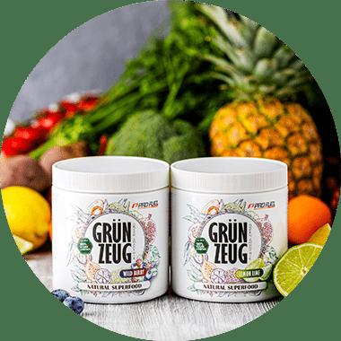 Superfoods für grüne Smoothies mit Weizengras, Acai und Matcha