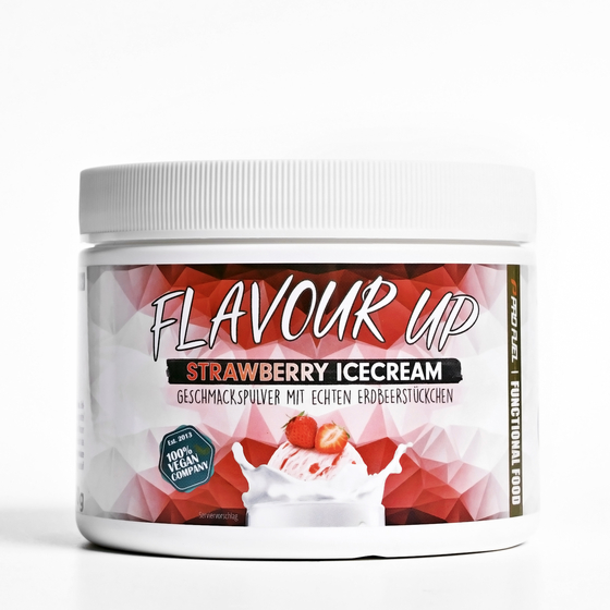Geschmackspulver Flavour Up Aroma Pulver kalorienarm in Strawberry Icecream (Erdbeer Eiscreme)